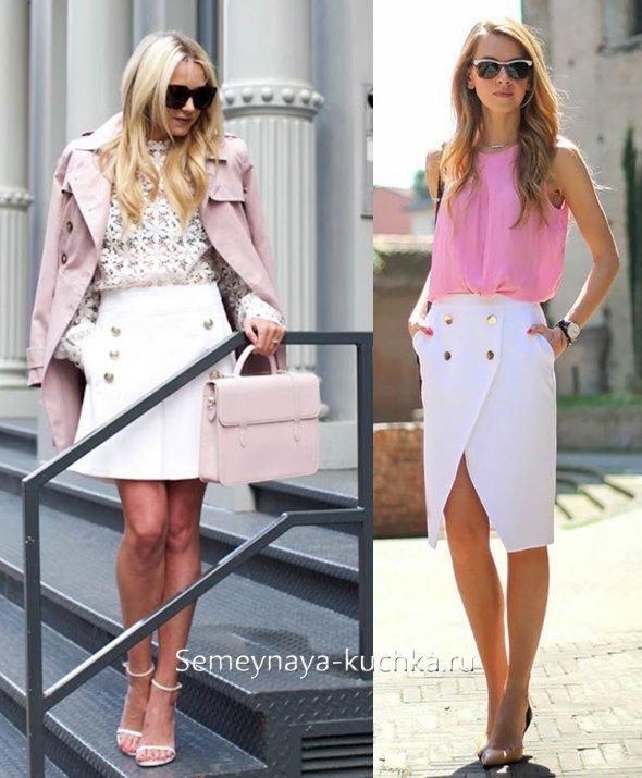 белая юбка с розовым