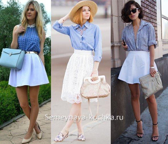 белая юбка с голубой рубашкой