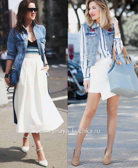 белая юбка с денимом