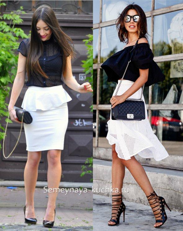 белая юбка черный верх