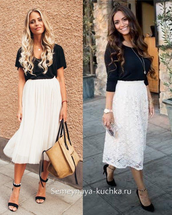 белая юбка черный топ