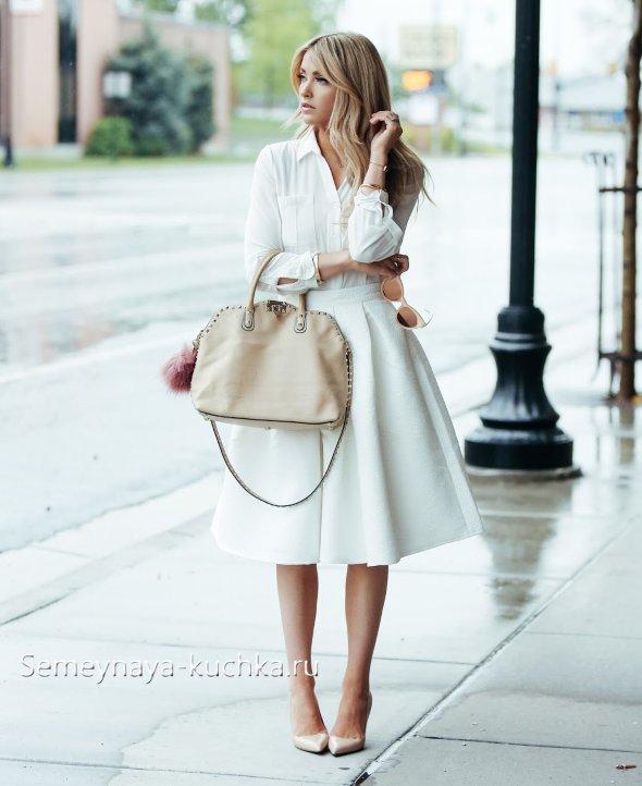 с чем носить пышную белую юбку