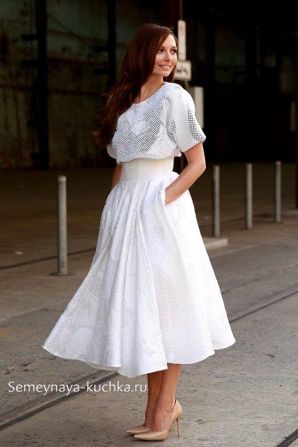 белая юбка миди с чем носить