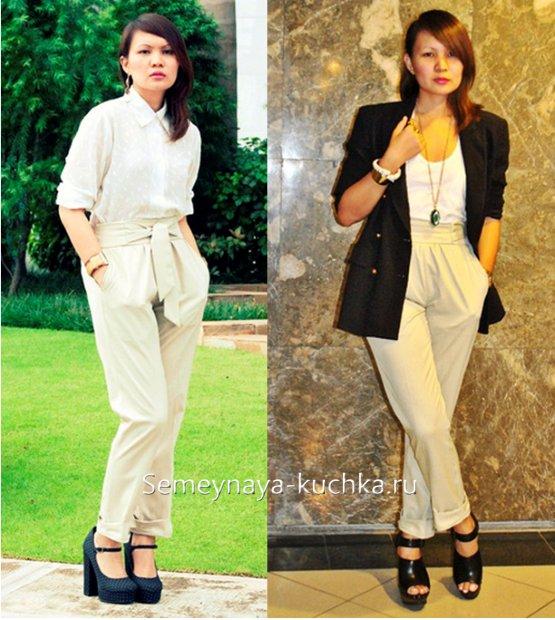 стильные светлые брюки женские