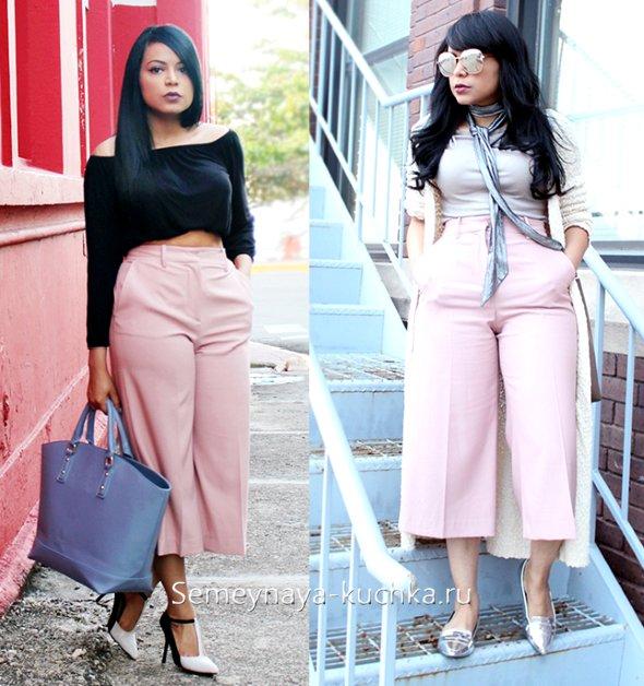 модные светлые брюки кюлоты широкие