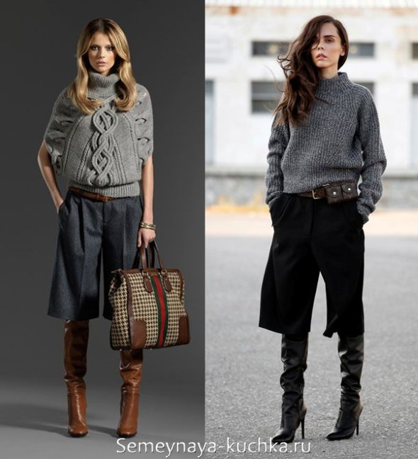 короткие широкие теплые брюки на весну 2017
