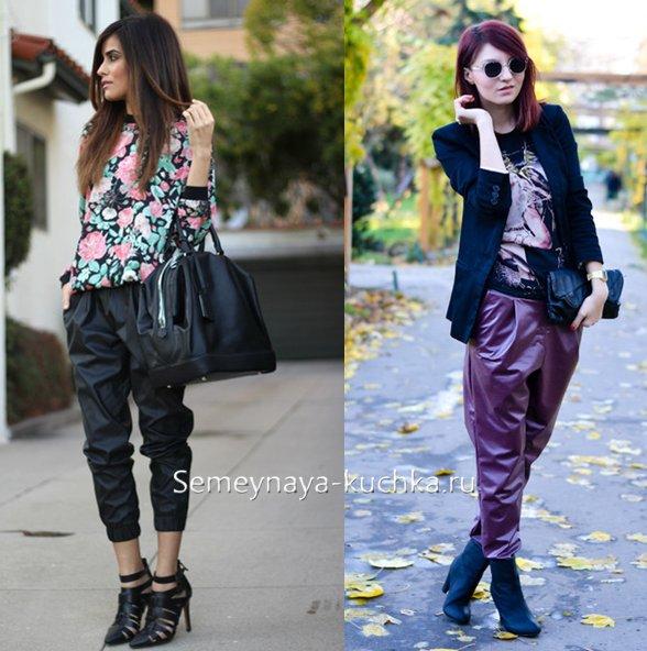 стильные кожаные брюки чинос на весну