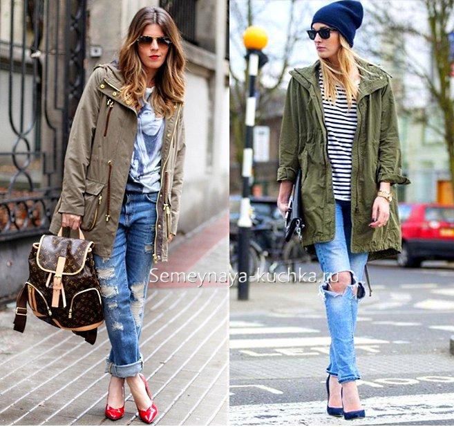 куртка парка с рваными джинсами