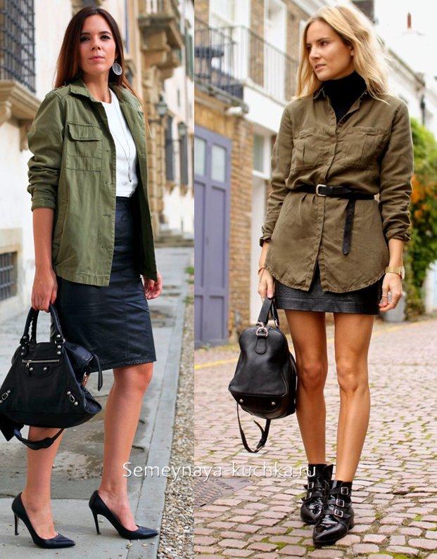 куртка парка и кожаная юбка