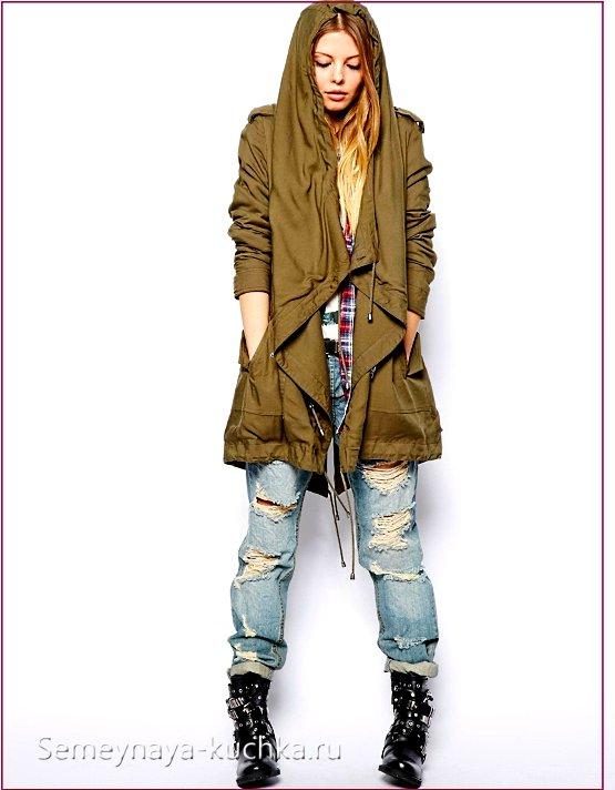 куртка парка с джинсами