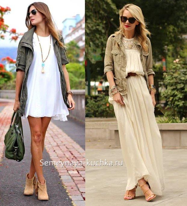 как носить парку летом с платьем