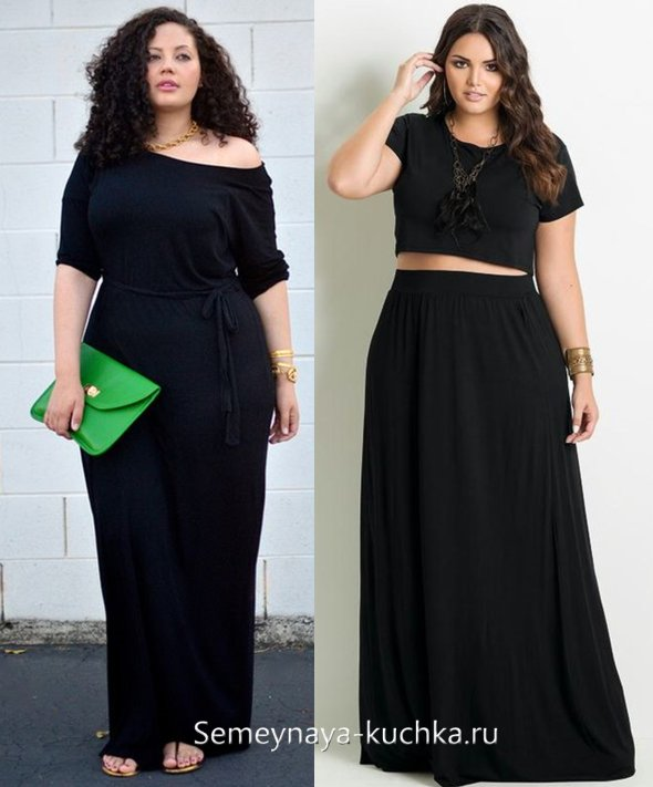 платье для полных длинное черное