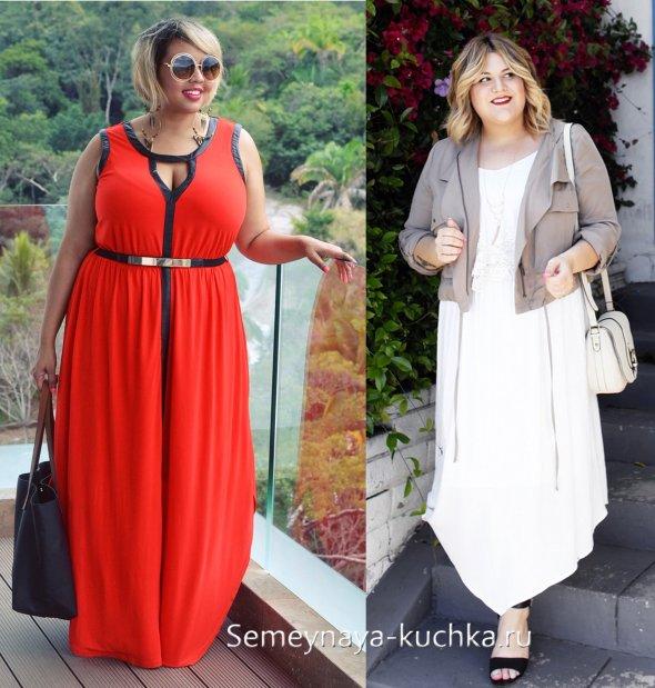 красное летнее платье для полных