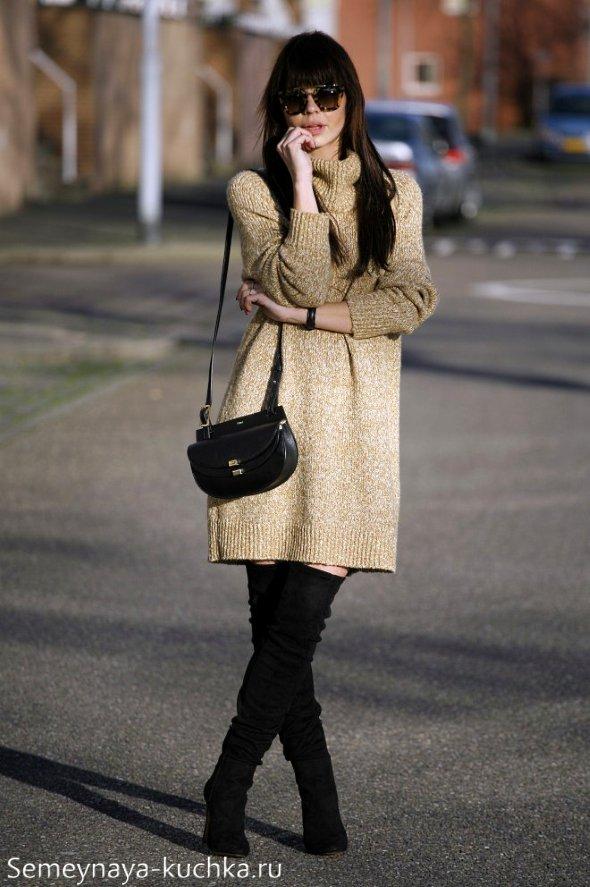 вязаное платье и сапоги стрейч