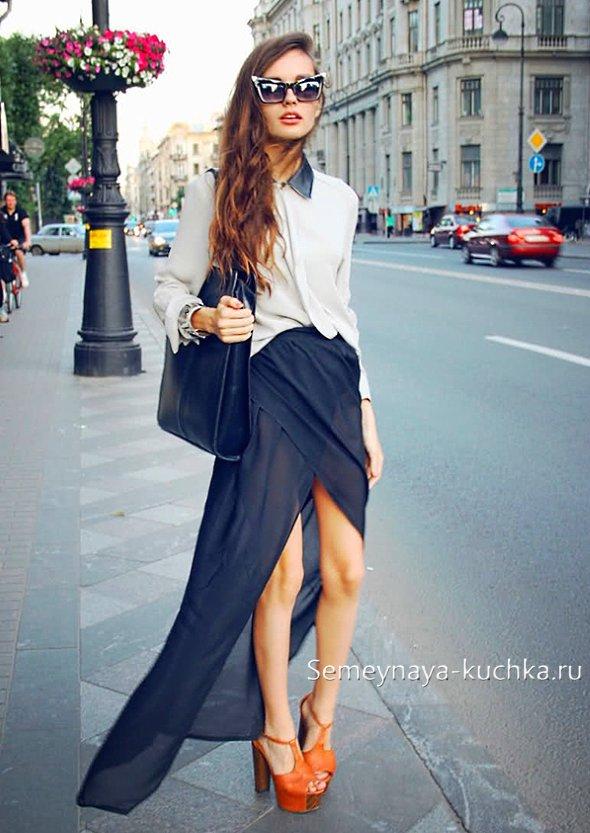 туфли мюли с ремешком длинная юбка