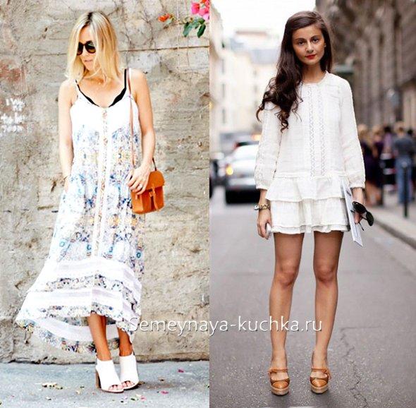 обувь мюли и платье