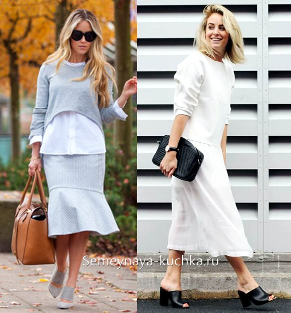 обувь мюли с белой юбкой