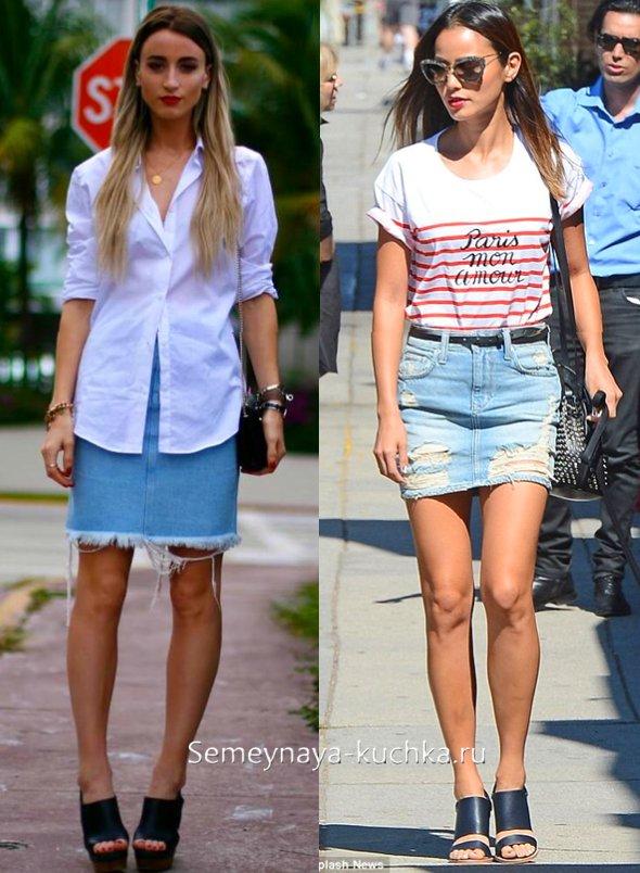 туфли мюли и джинсовая юбка