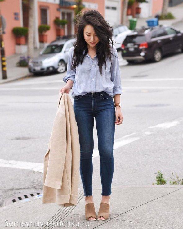 джинсы скинни и мюли