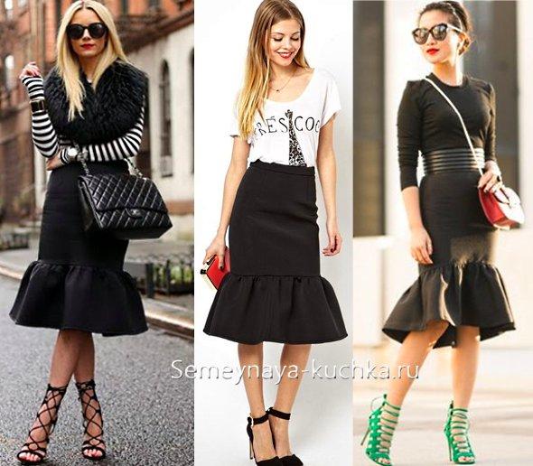 черная юбка с воланом