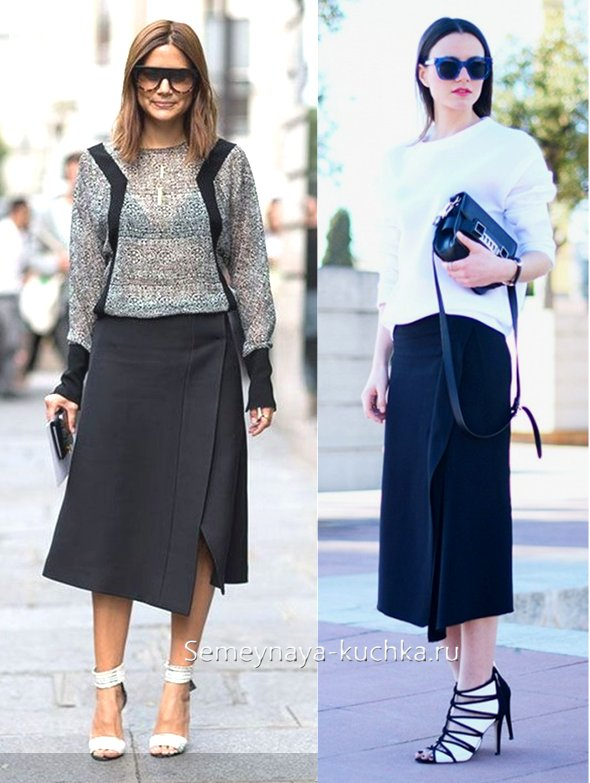 черная юбка с запахом