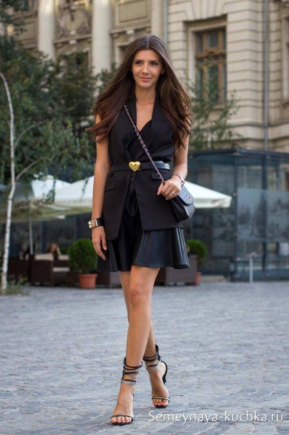 черная юбка солнце как носить