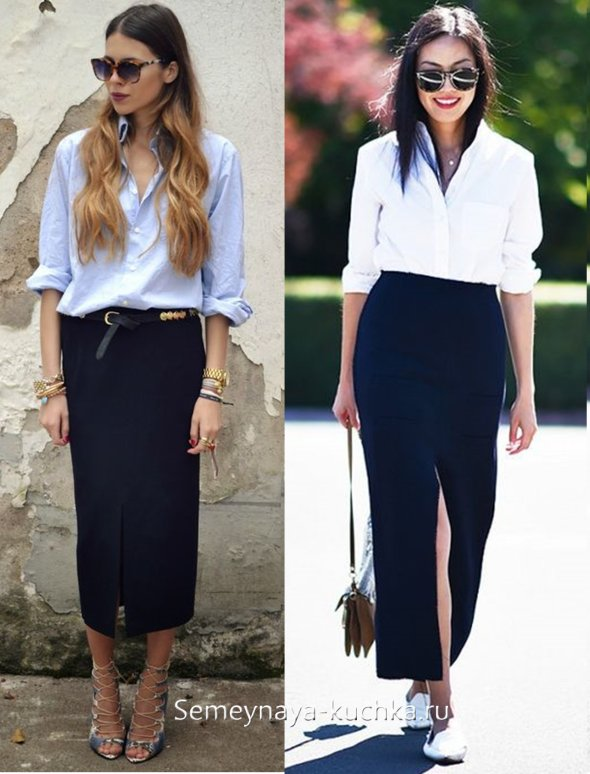 черная прямая юбка со шлицей