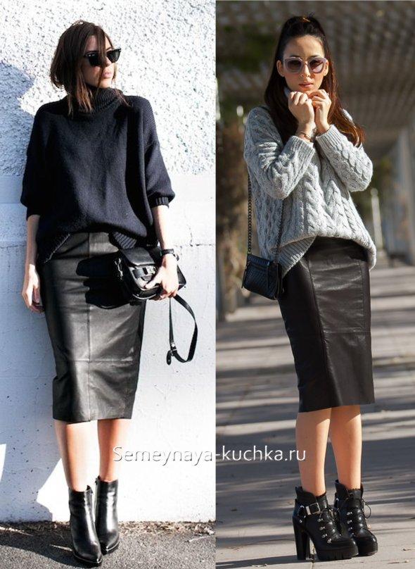 черная юбка прямая из кожи
