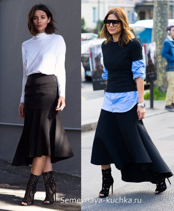 черная ассиметричная юбка годе