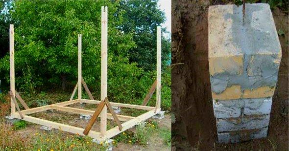 как сделать деревянную беседку на точечном фундаменте