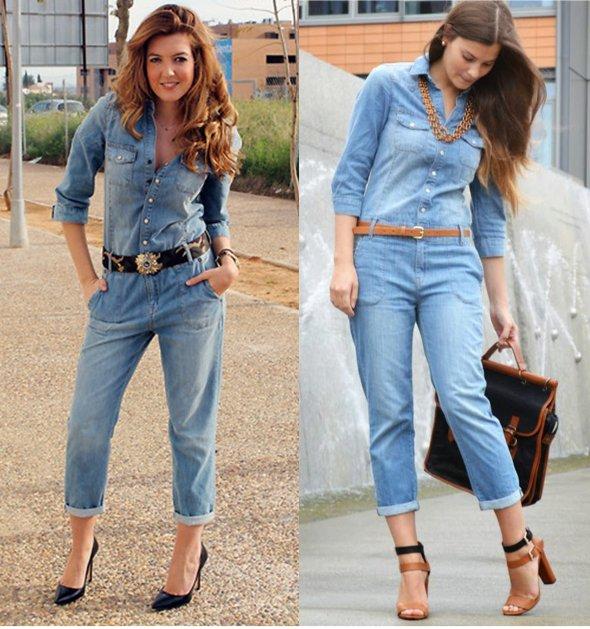 комбинезон-рубашка из джинсы
