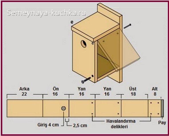 схема сборки деревянного скворечника