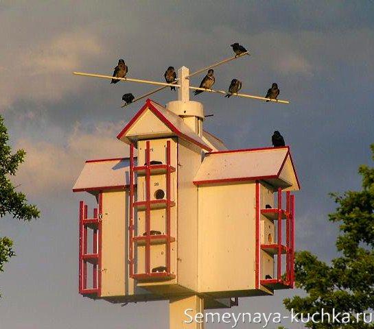 как сделать скворечник на много птиц