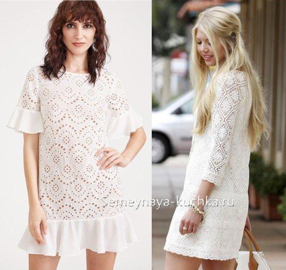 кружевное белое платье прямого кроя