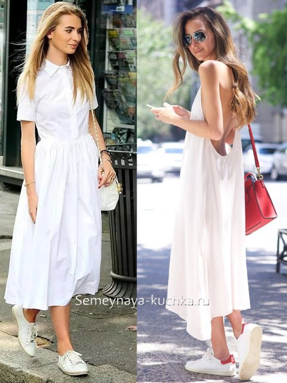 длинной белое платье-сарафан