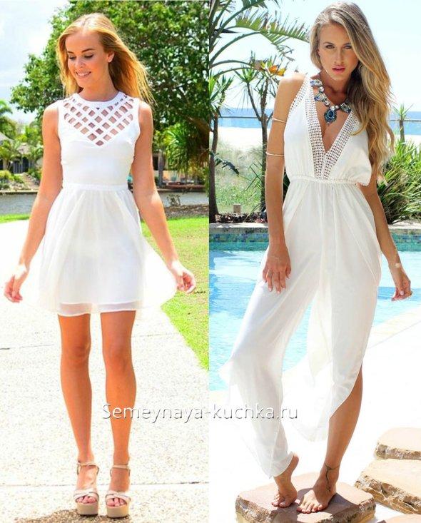 белое летнее платье из легких тканей