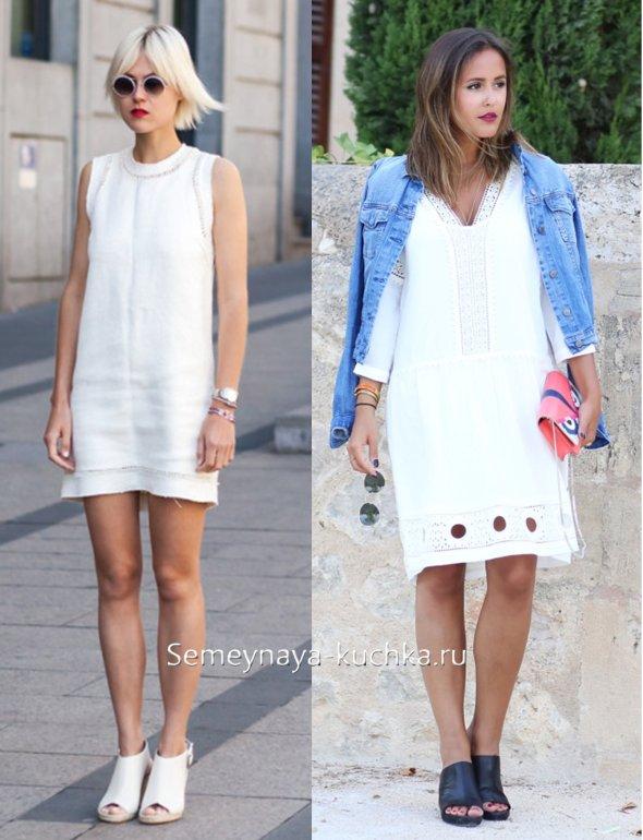 туфли мюли и платье белого цвета