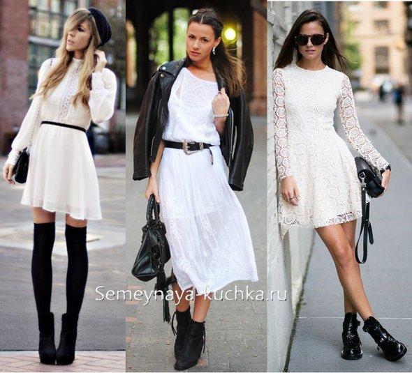 черные ботильоны под белое короткое платье