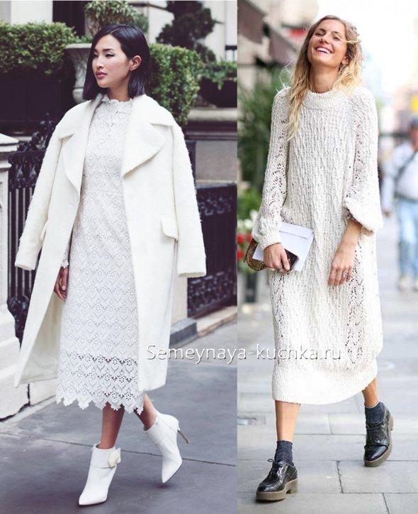 вязаное кружевное белое платье на осень