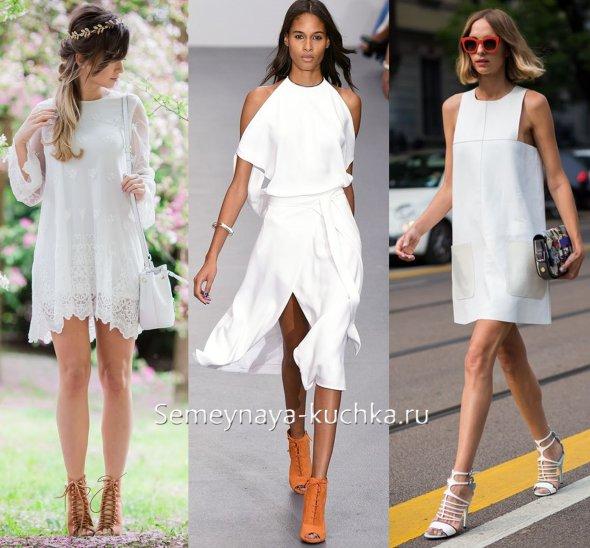 ботильоны летние под белое короткое платье