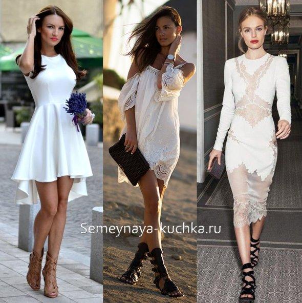 сандалии гладиаторы под белое платье