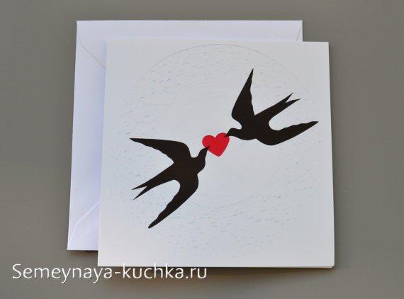 весенняя открытка с ласточками
