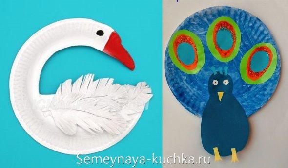 поделки птицы из бумажных тарелок
