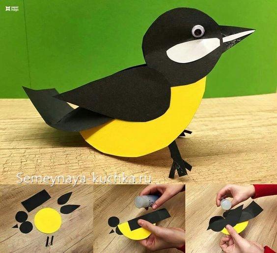 птица синица из бумаги и картона своими руками