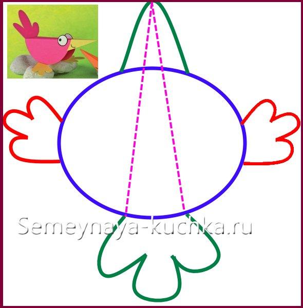 чертеж схема птицы из бумаги