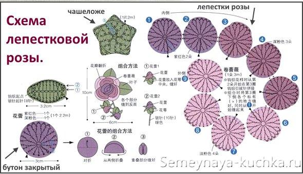 схема вязаной розы