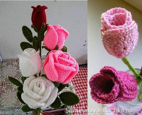 как вязать розу крючком