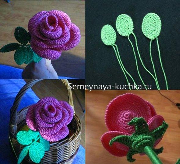 как вязать розу