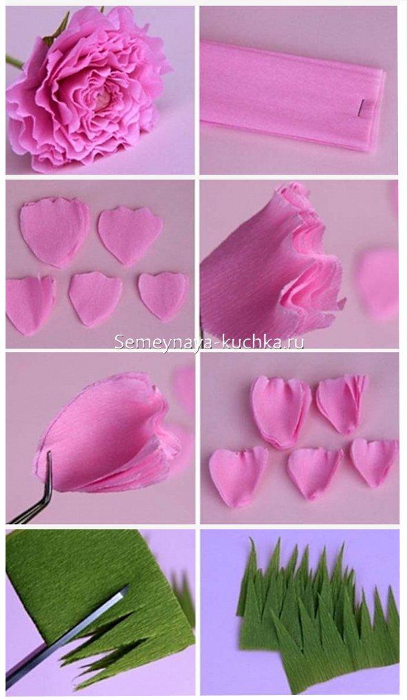как делать розу из креповой бумаги