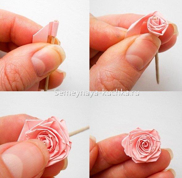 как скрутить розу из бумаги